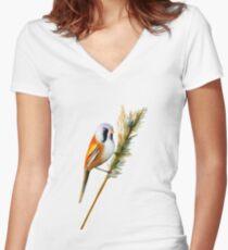 Bearded Tit Bird Watercolor Artwork Bird Art Women's Fitted V-Neck T-Shirt