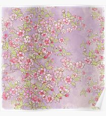 Watercolor Cherry Blossoms on Lavender Pink Wash Poster