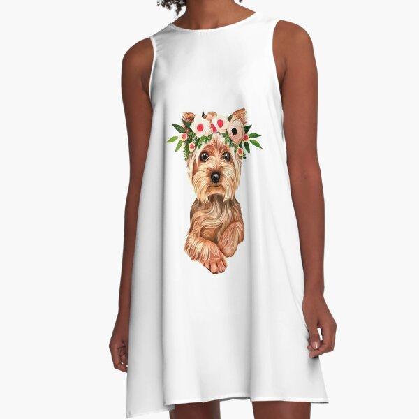 Cute Yorkie Dog A-Line Dress