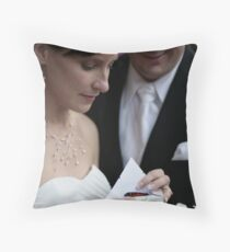 Bride & Groom reveal a butterfly Throw Pillow