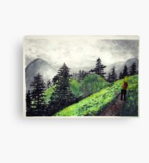 mountain scape hiker watercolor painting Canvas Print