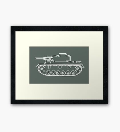 military tank silhouette funshirt for airsoft, paintball, gotcha and lasertag Framed Print