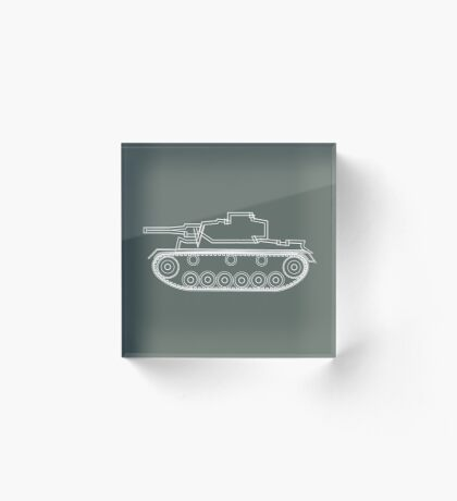 military tank silhouette funshirt for airsoft, paintball, gotcha and lasertag Acrylic Block