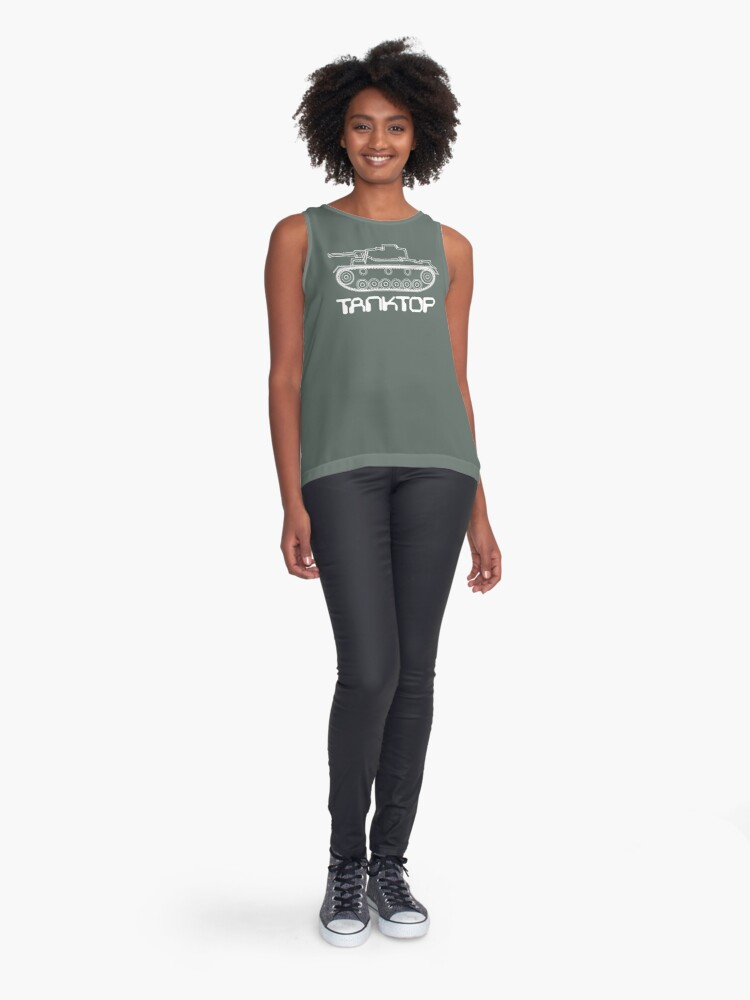 Alternate view of military tank silhouette funshirt for airsoft, paintball, gotcha and lasertag Sleeveless Top