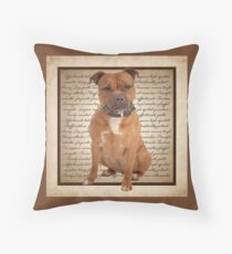 Staffordshire Bull Terrier Traits Throw Pillow