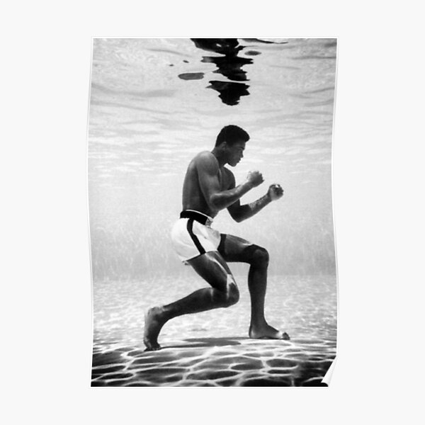 Muhammad Ali Under Water Fighting Position Póster
