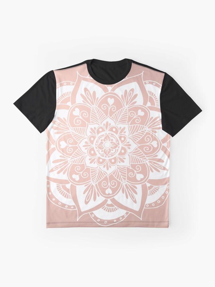 Alternative Ansicht von Blumenmandala auf Rosengold Grafik T-Shirt