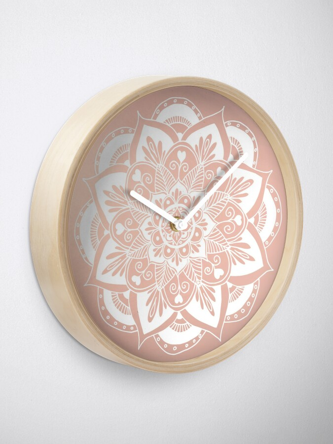 Alternative Ansicht von Blumenmandala auf Rosengold Uhr