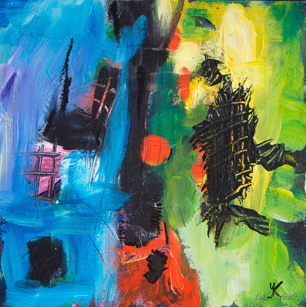 Blue Yellow Red abstract by Yulia Kazansky