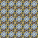Moroccan Tile in Yellow and Blue by latheandquill