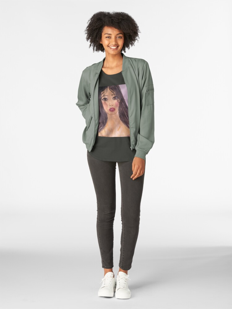 Alternate view of Portrait Of a Girl With a Red Lip Premium Scoop T-Shirt