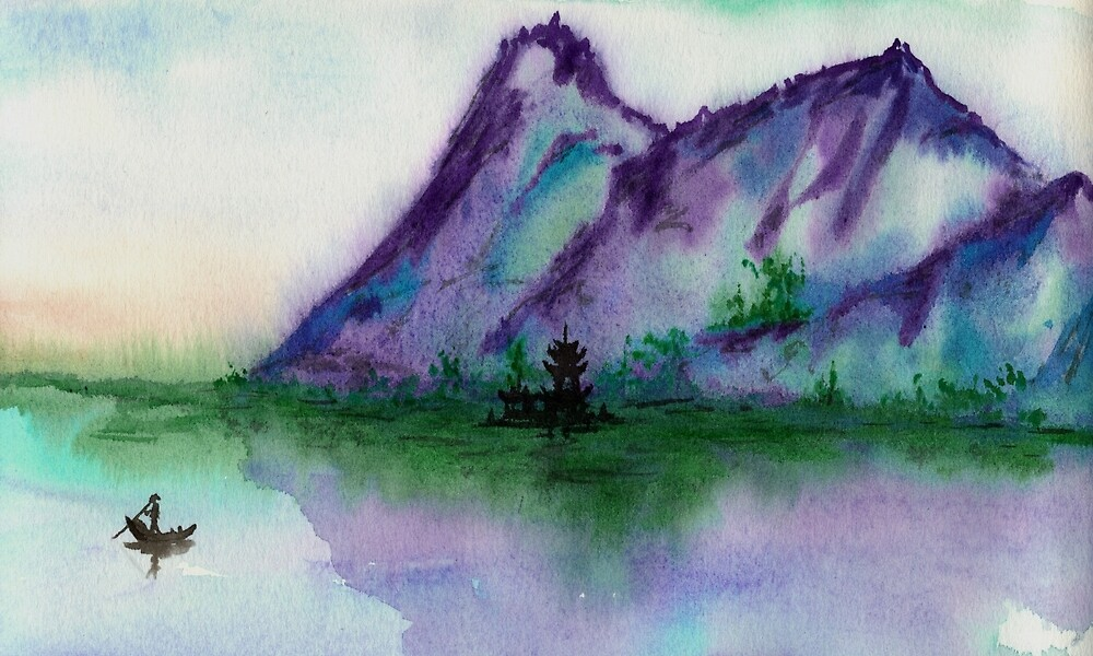 Fishing at Dawn - Chinese Landscape Sumi-e by Brazen Edwards