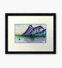 Fishing at Dawn - Chinese Landscape Sumi-e Framed Print