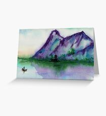Fishing at Dawn - Chinese Landscape Sumi-e Greeting Card
