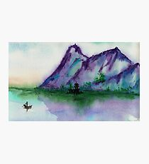 Fishing at Dawn - Chinese Landscape Sumi-e Photographic Print