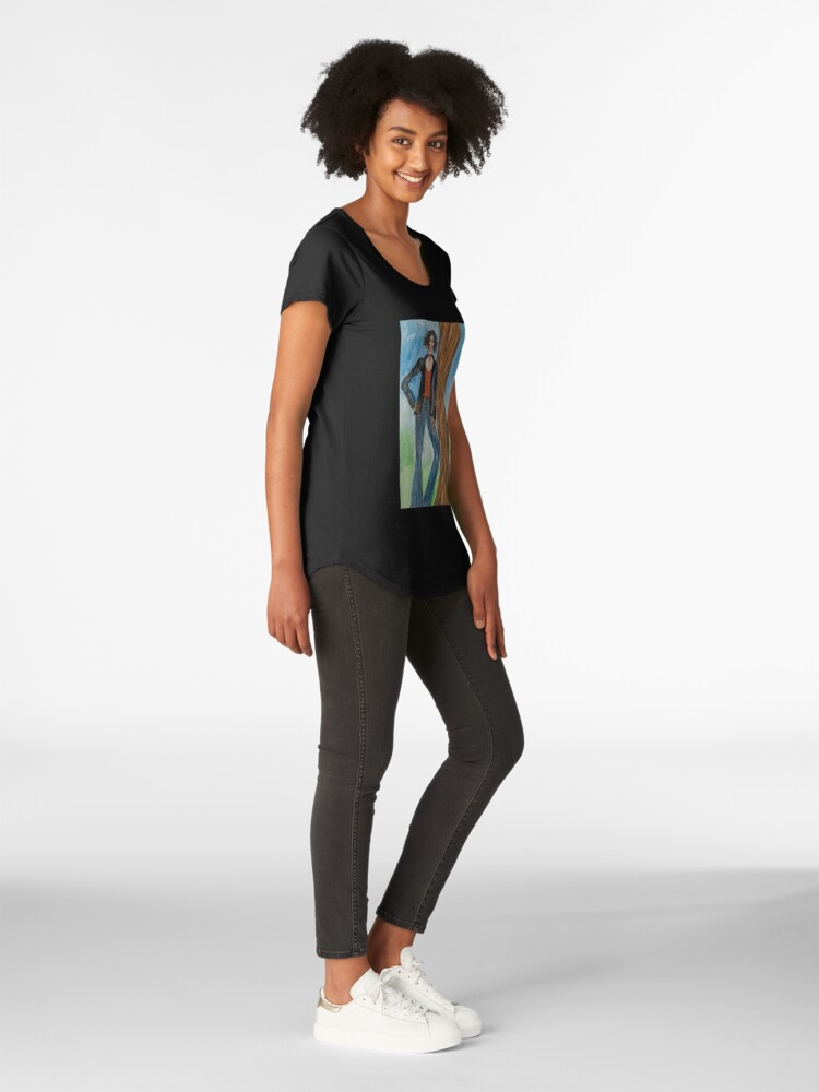 Alternate view of Relaxed Girl Leaning on a Tree Premium Scoop T-Shirt