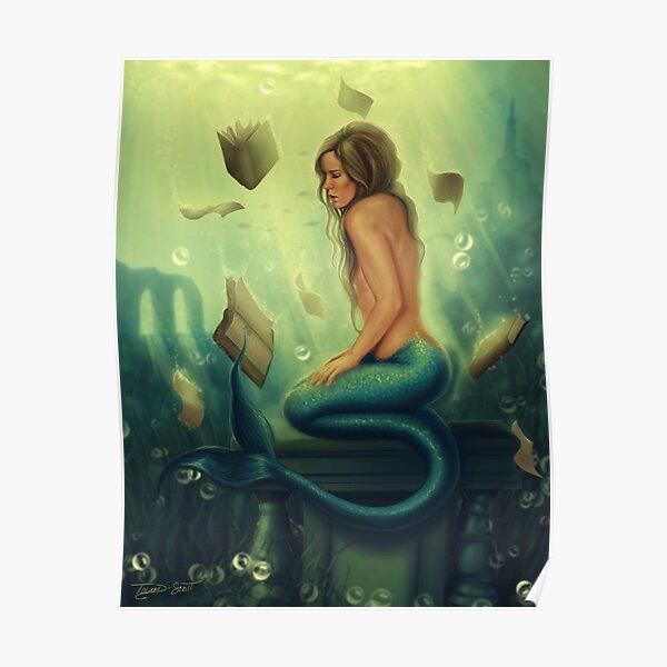 Lost Books 2 - Mermaid Reading Underwater Poster