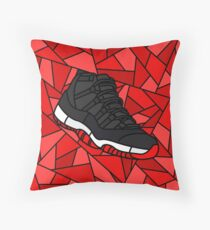 Retro 11 Playoff Red and Black Stained Glass Sneaker Throw Pillow