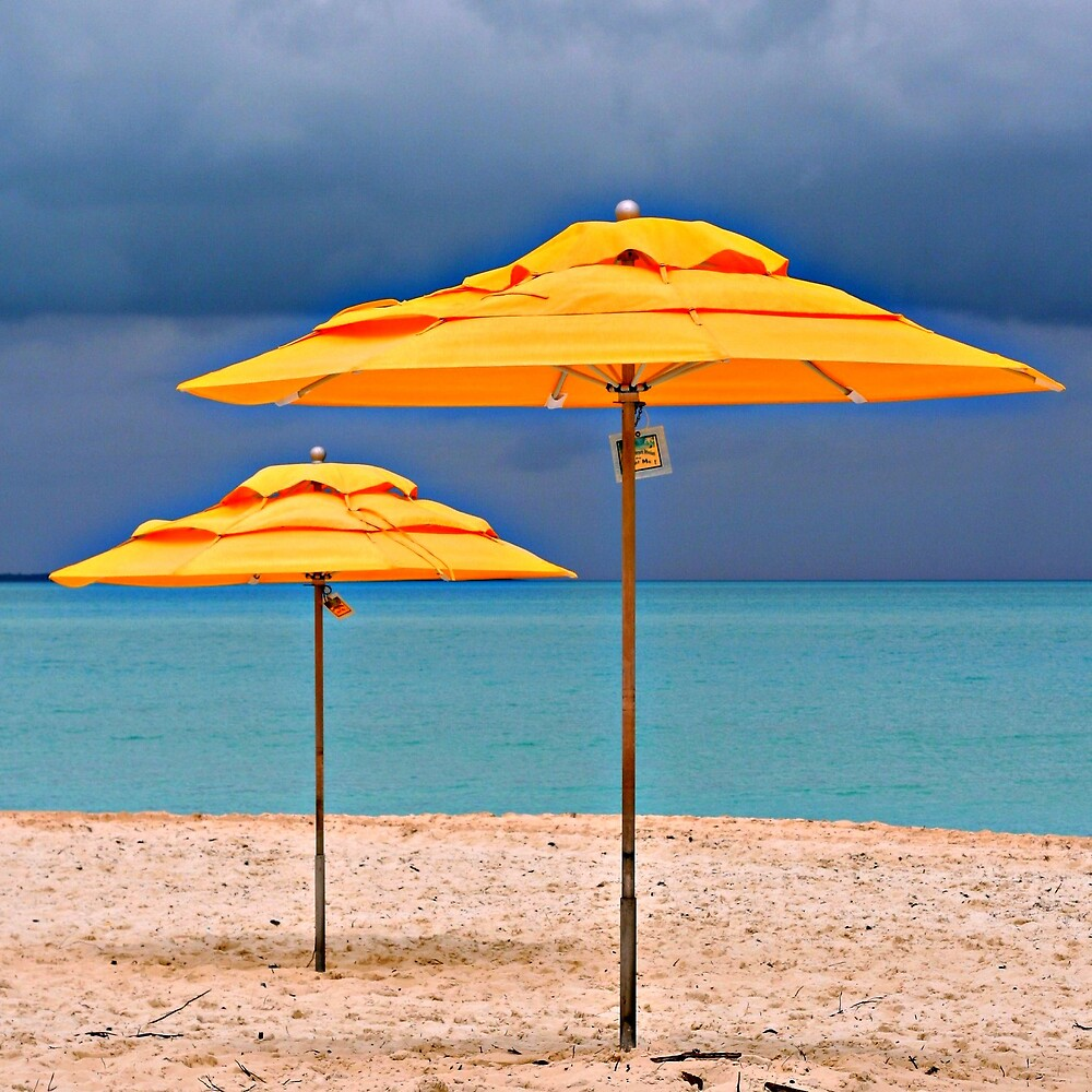 yellow umbrella and the impending storm by photocillin