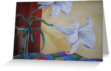 Two White Lilies by nancy salamouny