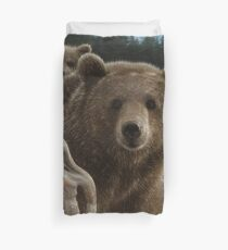 "Brown Bear With Cubs ""Backpacking"" Duvet Cover"