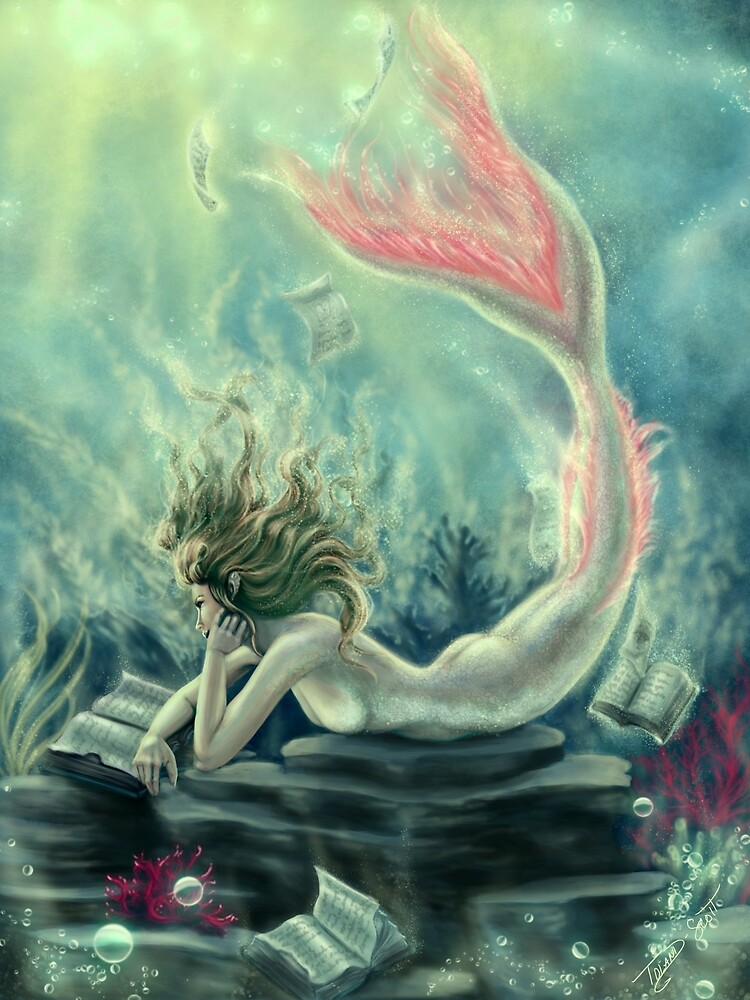 Mermaid Reading Underwater by tiffanysrealm