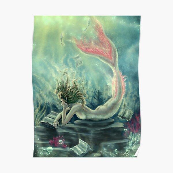 Mermaid Reading Underwater Poster