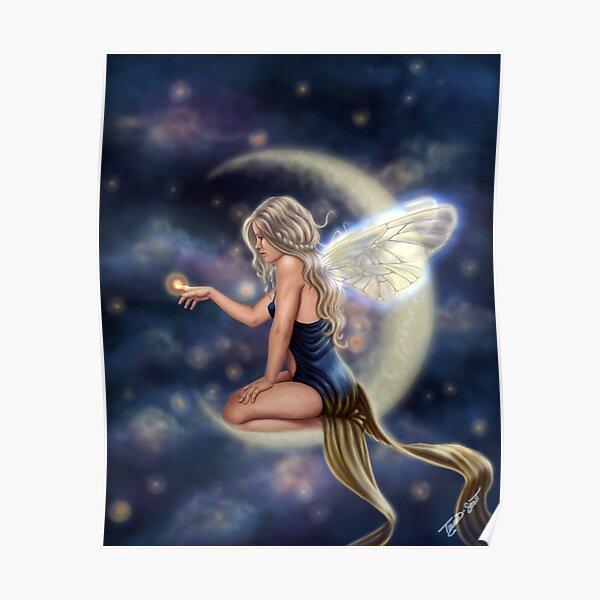 Firefly Moon - Fairy Sitting on Moon Poster