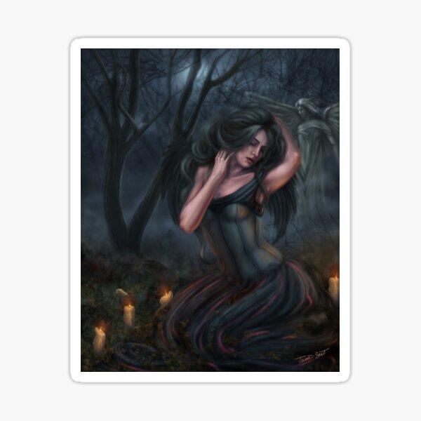 Death - Dark Fallen Angel in Cemetery Sticker