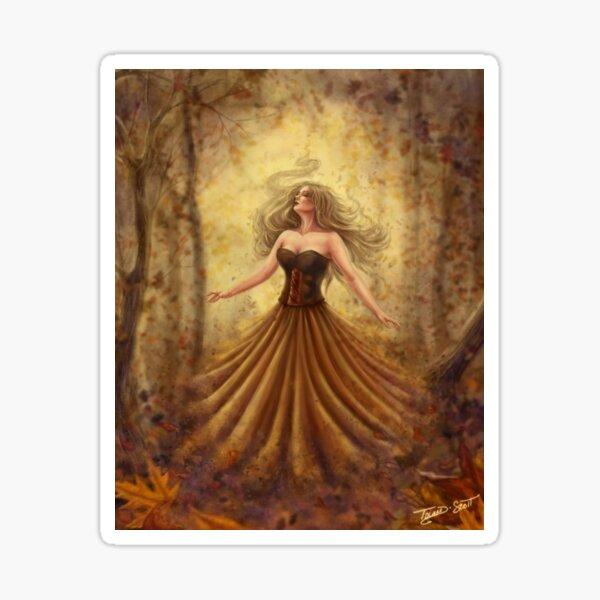 Breath of Autumn - Magical Autumn Woman Casting Magic Spell Sticker