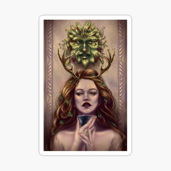Abundance - Wine Goddess with Goblet and Green Man Sticker