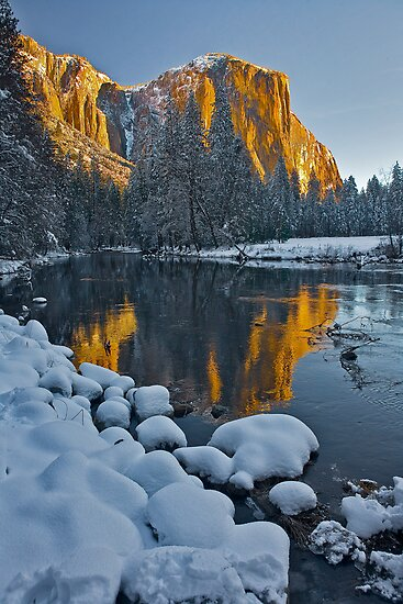 El Capitan Early Morning Light and a Winter Blanket by photosbyflood