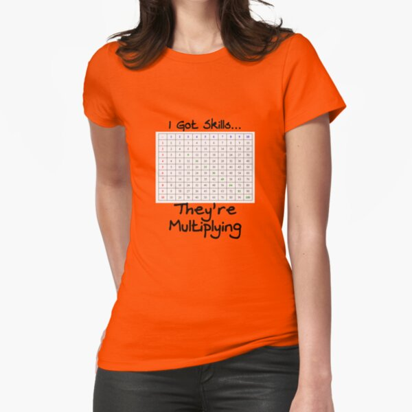 Funny I've Got Skills They're Multiplying Math Teacher Tee With Multiplication Table Fitted T-Shirt