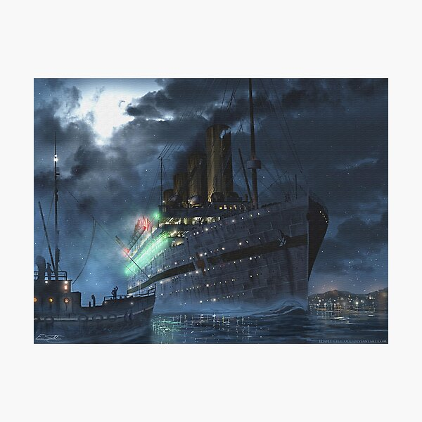 Britannic at night   Painting   Art by Eliott Cha'coco Photographic Print
