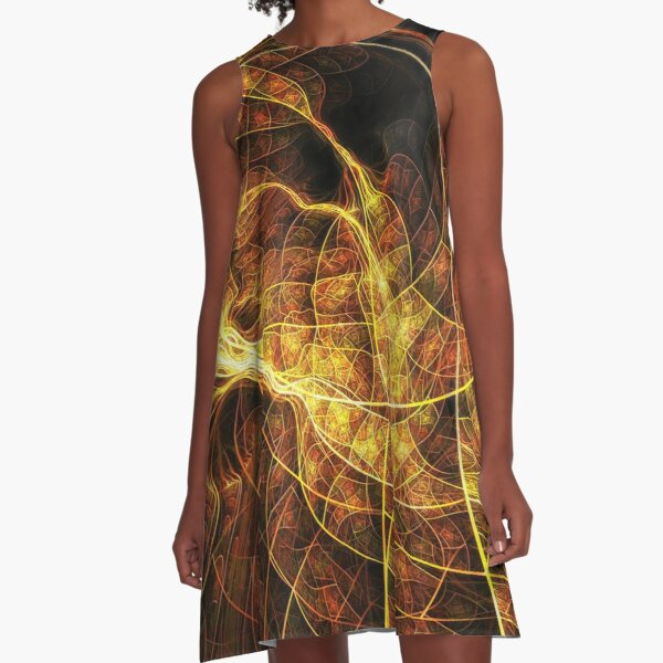 Fall Leaf Textures A-Line Dress