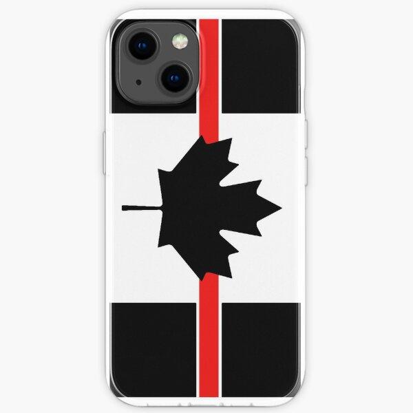 Pompier canadien: ligne rouge mince Coque souple iPhone