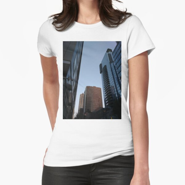 Tower block, High-rise building, Happiness, Building, Skyscraper, New York, Manhattan, Street, Pedestrians, Cars, Towers, morning, trees, subway, station, Spring, flowers, Brooklyn Fitted T-Shirt