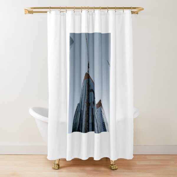Spire, Happiness, Building, Skyscraper, New York, Manhattan, Street, Pedestrians, Cars, Towers, morning, trees, subway, station, Spring, flowers, Brooklyn Shower Curtain