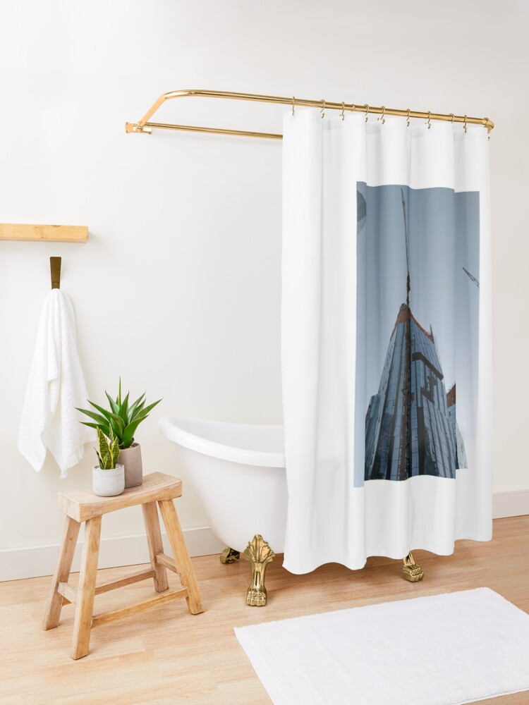 Alternate view of Spire, Happiness, Building, Skyscraper, New York, Manhattan, Street, Pedestrians, Cars, Towers, morning, trees, subway, station, Spring, flowers, Brooklyn Shower Curtain