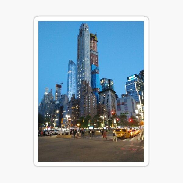 Metropolitan area, Happiness, Building, Skyscraper, New York, Manhattan, Street, Pedestrians, Cars, Towers, morning, trees, subway, station, Spring, flowers, Brooklyn Sticker