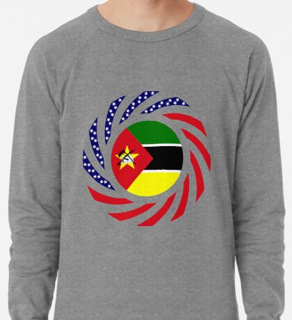Mozambican American Multinational Patriot Flag Series Lightweight Sweatshirt