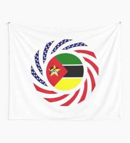 Mozambican American Multinational Patriot Flag Series Wall Tapestry