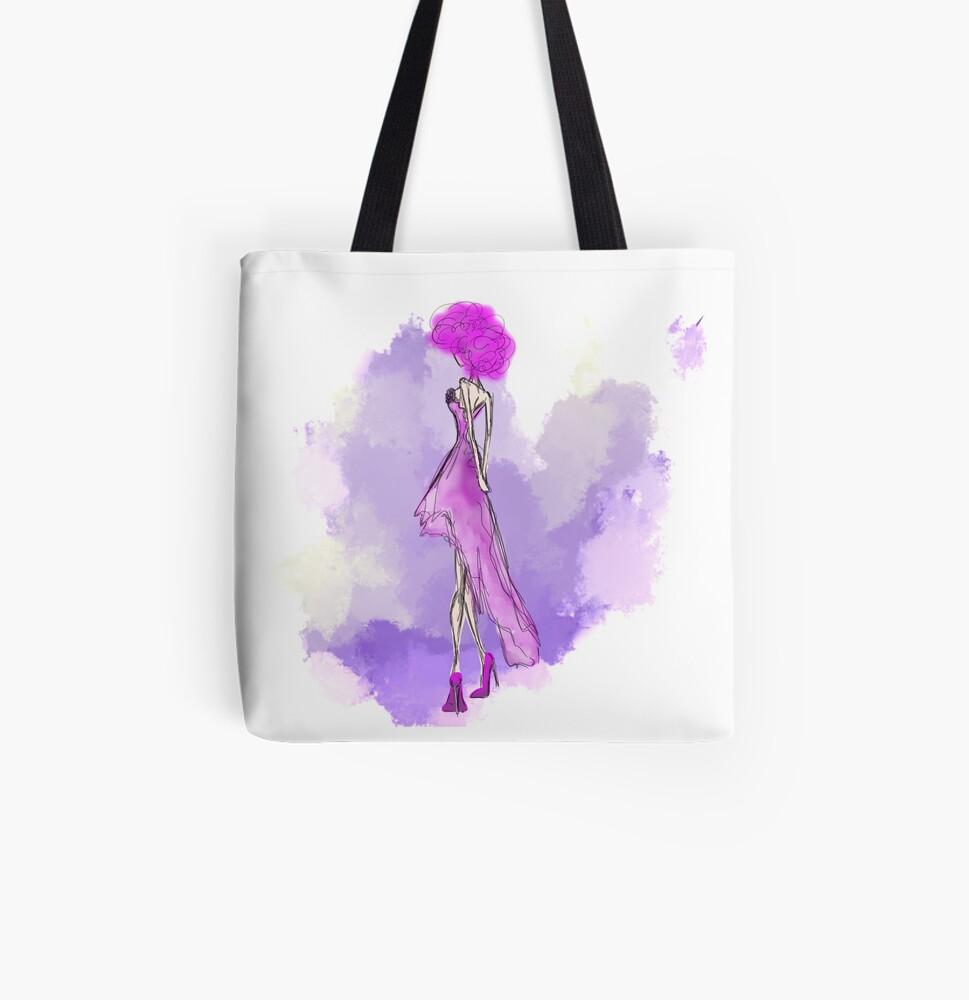 Delicate drape: Fashion Illustration All Over Print Tote Bag