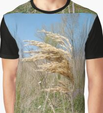 #Nature #field #grass #wheat #outdoors #agriculture #pasture #farm #summer #straw #crop #landscape #corn #vertical #colorimage #ruralscene #nopeople #cerealplant #nonurbanscene #day #phragmites Graphic T-Shirt
