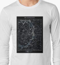 STAR CONSTELLATIONS : Vintage 1900 Galaxy Chart Map Long Sleeve T-Shirt