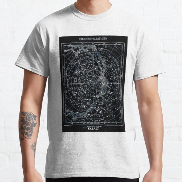 STAR CONSTELLATIONS : Vintage 1900 Galaxy Chart Map Classic T-Shirt