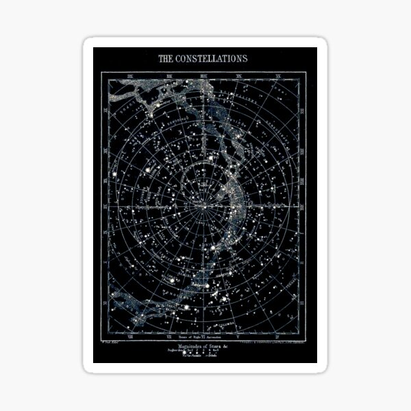 STAR CONSTELLATIONS : Vintage 1900 Galaxy Chart Map Sticker