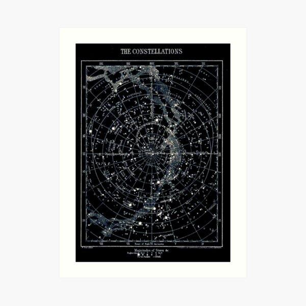 CONSTELACIONES DE ESTRELLAS: Vintage 1900 Galaxy Chart Map Lámina artística