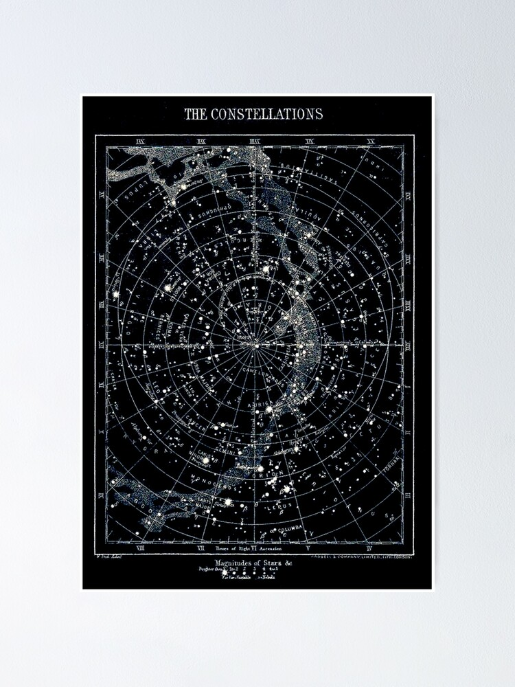 Alternate view of STAR CONSTELLATIONS : Vintage 1900 Galaxy Chart Map Poster