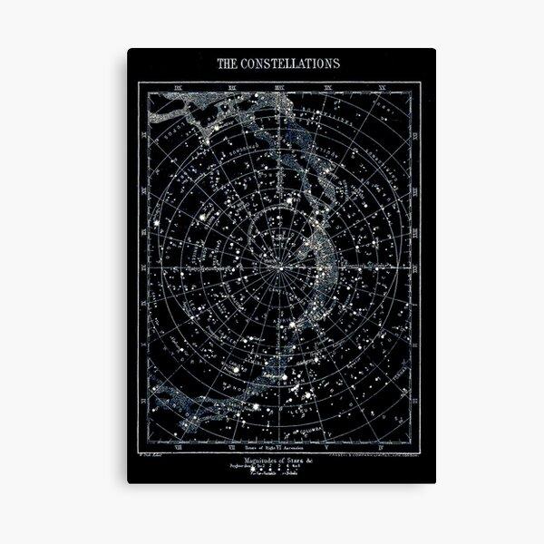 STAR CONSTELLATIONS : Vintage 1900 Galaxy Chart Map Canvas Print